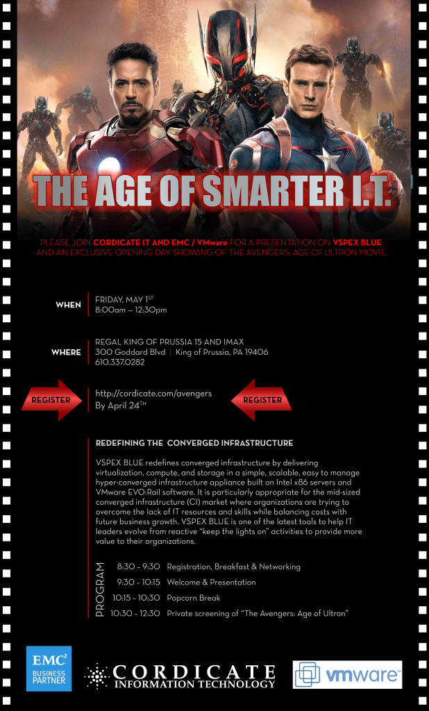 Age of Ultron Viewing | EMC VMware VSPEX BLUE Cordicate IT | IMAX KOP May 1st 8am