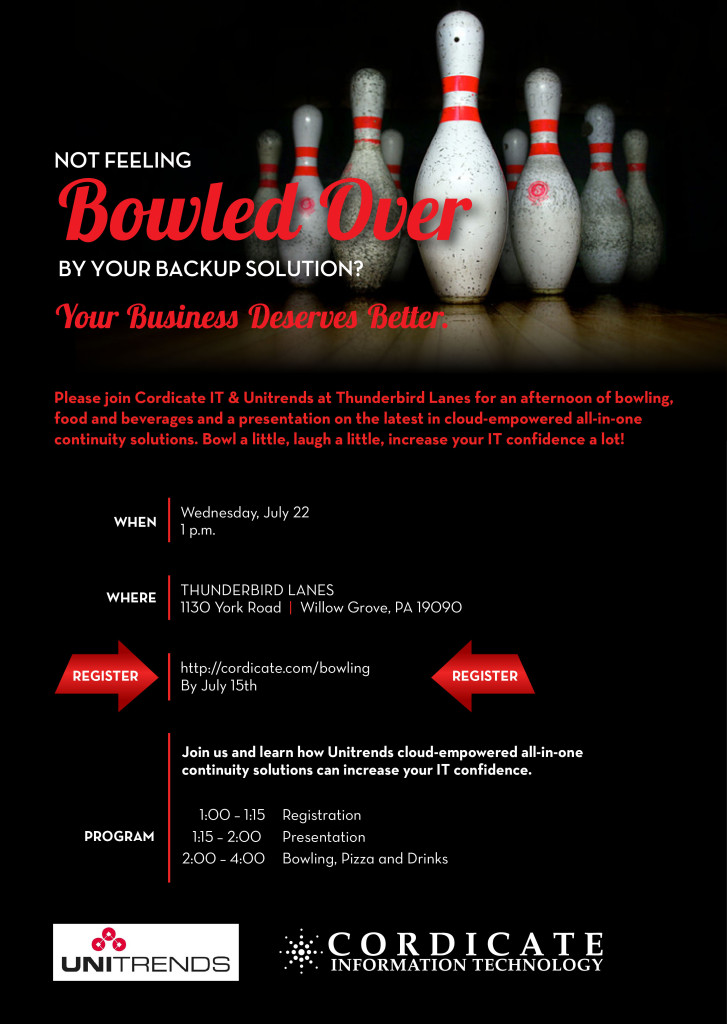 Cordicate IT | Bowled Over | Unitrends Cloud Backup Solution